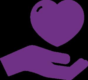 hand heart icon purple
